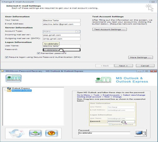 Outlook and Outlook Express Password Recovery Utility
