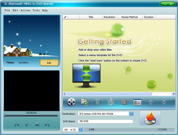 3herosoft MPEG to DVD Burner