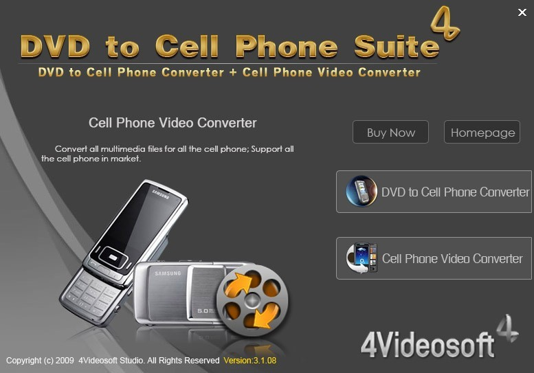 4Videosoft DVD to Cell Phone Suite Main Window ...
