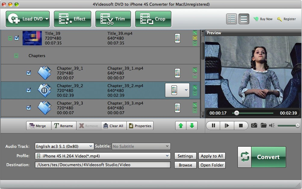 4Videosoft DVD to iPhone 4S for Mac