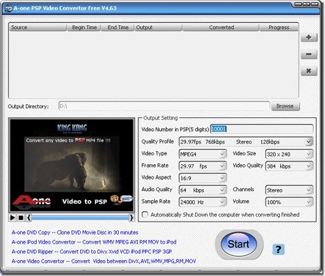 A-one Video to PSP Converter