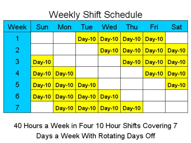 10 Hour Schedules For 7 Days A Week Main Window Shift