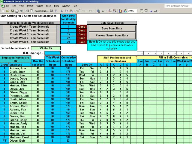 schedule multiple shifts automatically main window