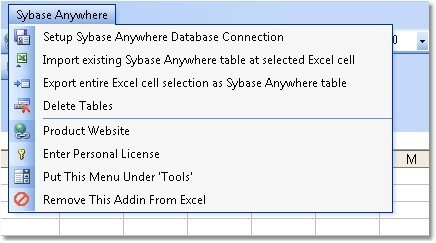 Excel Sybase Anywhere Import, Export & Convert Software