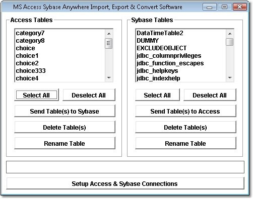 MS Access Sybase Anywhere Import, Export & Convert Software