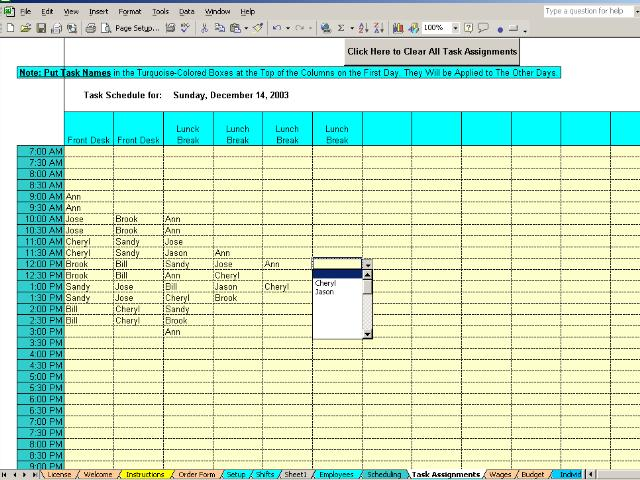 Daily shifts and tasks for 25 employees main window for Daily shift schedule template