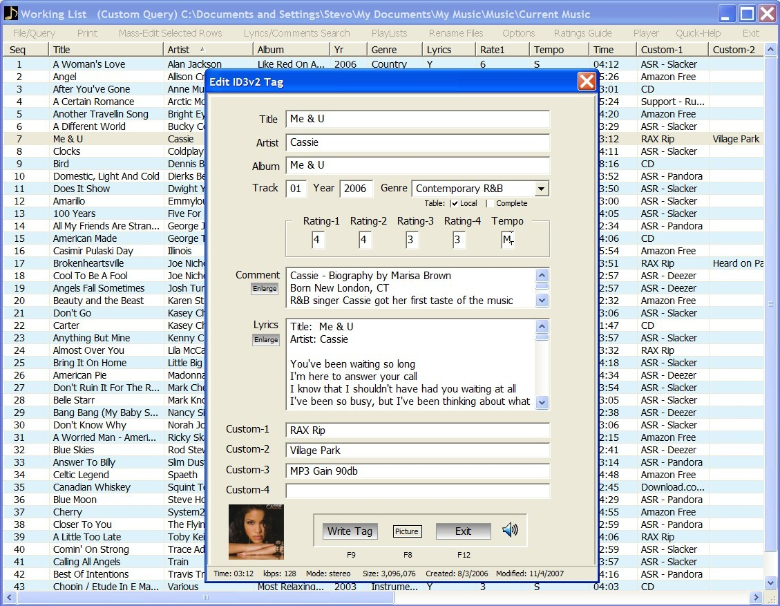 MP3 EZlib Music Library/Playlist Manager