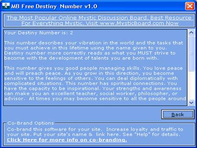 MB Free Destiny Number Main Window - MysticBoard.com - MB Free ...