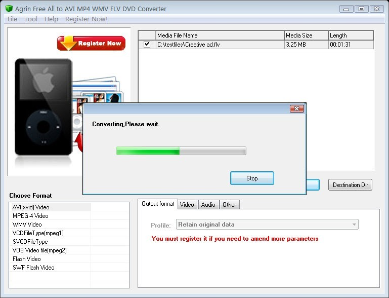 Agrin Free All to AVI MP4 FLV Converter