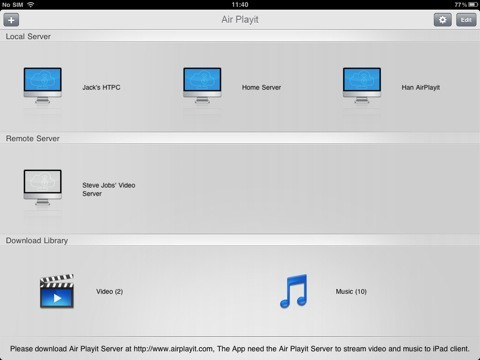 Air Playit iPad Client