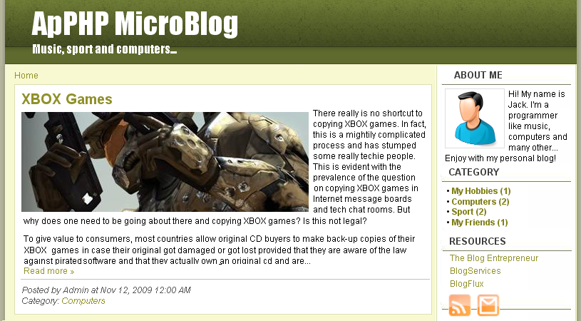 ApPHP MicroBlog - Personal PHP Web Blog