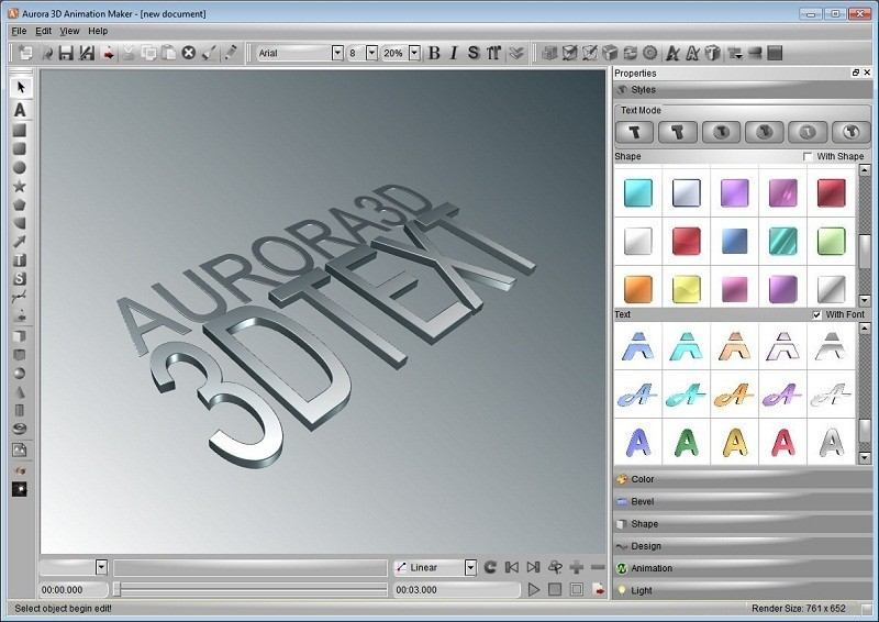 Aurora 3d animation maker main window aurora3dteam Simple 3d design software