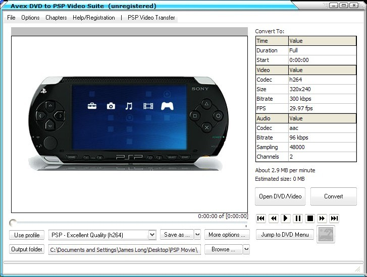 Avex DVD to PSP Video Suite