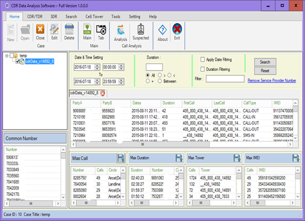 CDR Data Analysis Software
