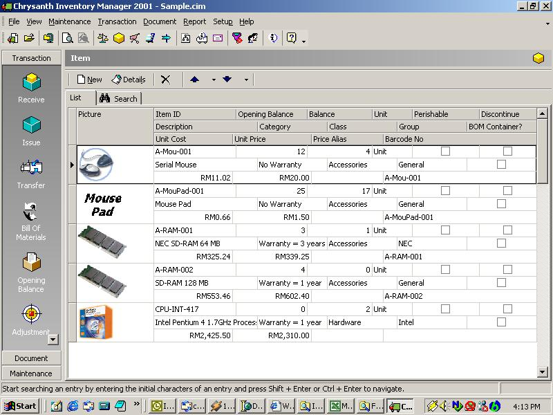 Chrysanth Inventory Manager 2001