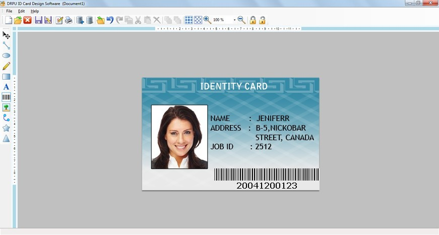 Design ID Cards Main Window Design ID cards Utility is