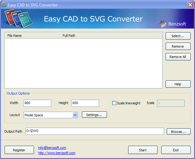 easy cad to svg converter main window benzsoft convert