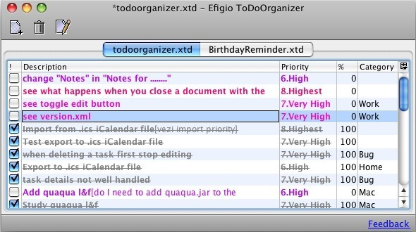 Efigio ToDo Organizer for Mac