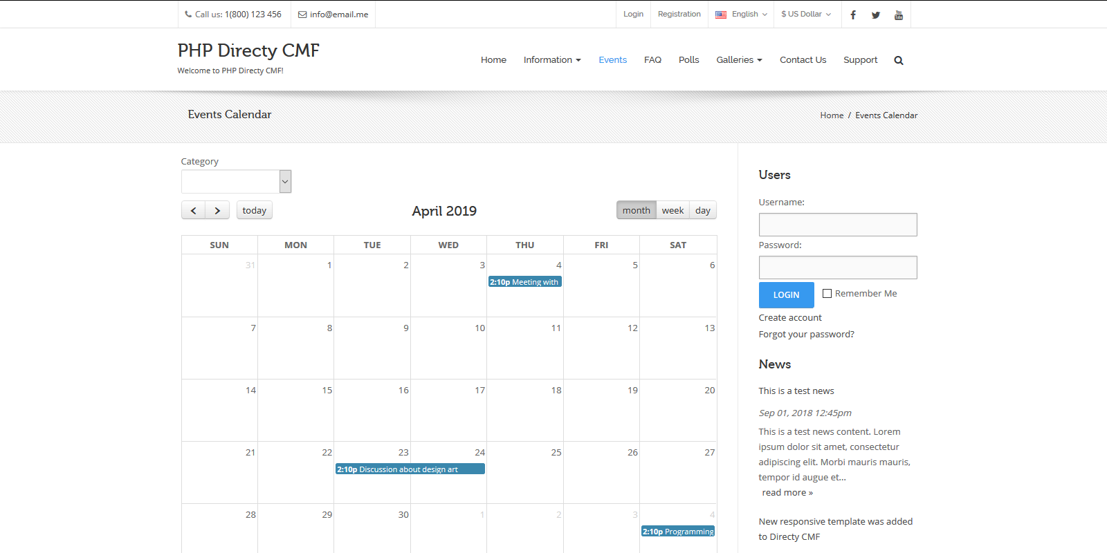 Events Module for Directy CMF