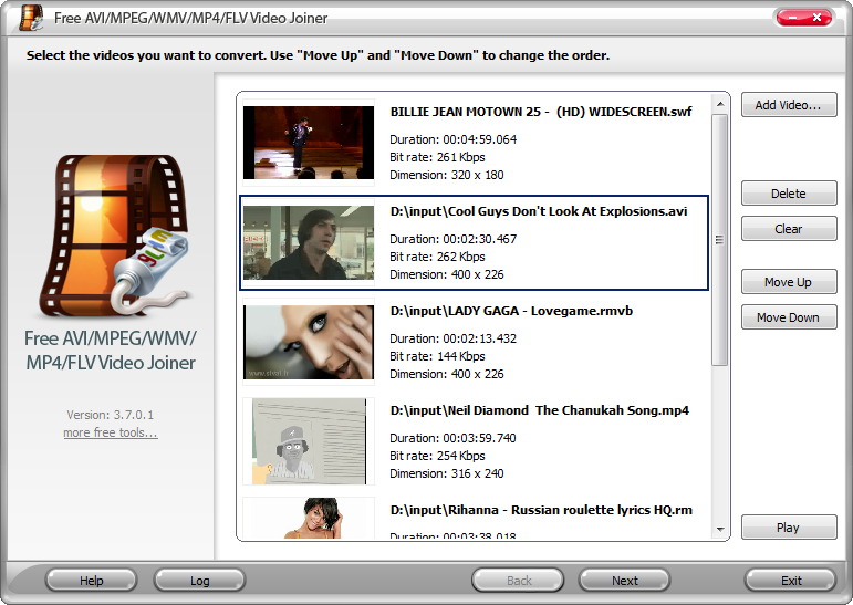 Free AVI/MPEG/WMV/MP4/FLV Video Joiner