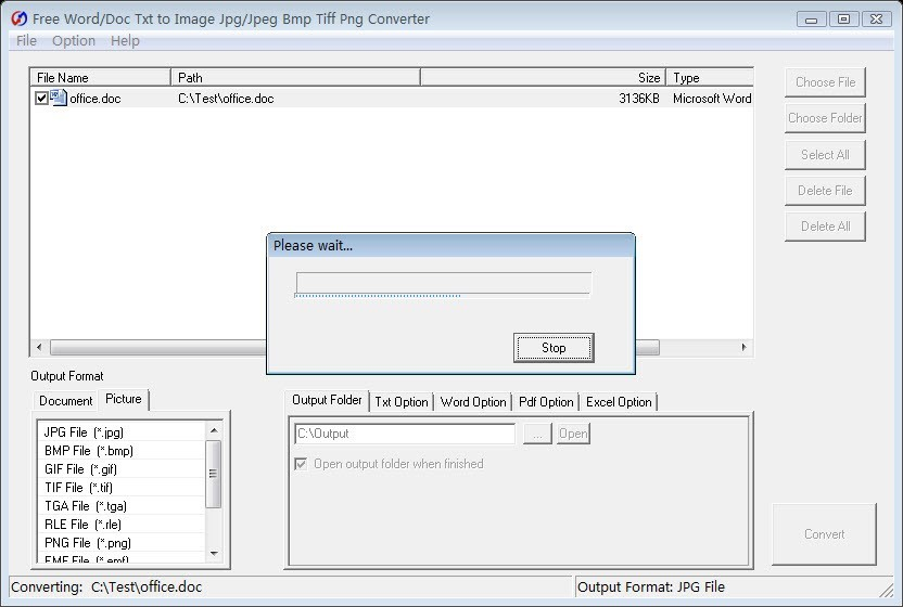 Free Word Txt to ImageJpeg Bmp Converter