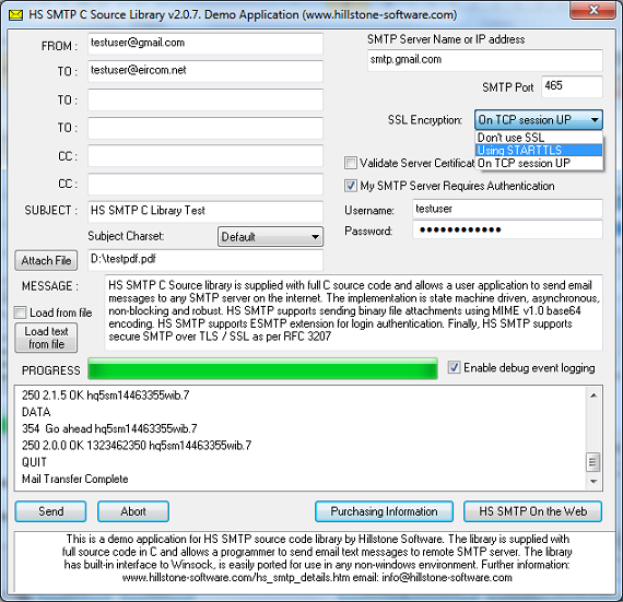 HS SMTP C Source Library