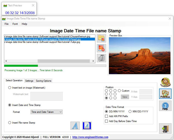 Image Date Time File name Stamp