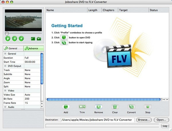 Joboshare DVD to FLV Converter for Mac