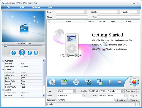 Joboshare DVD to iPod Converter