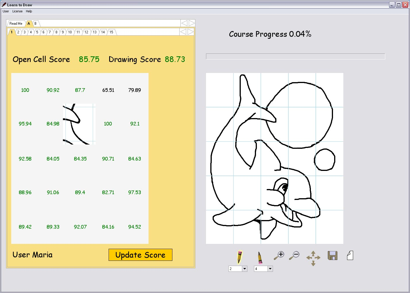 Learn to draw for beginners main window caricature Easy drawing software