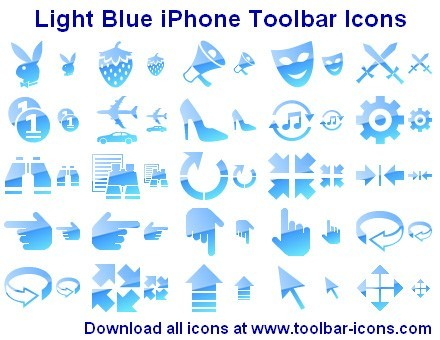 Light Blue iPhone Toolbar Icons