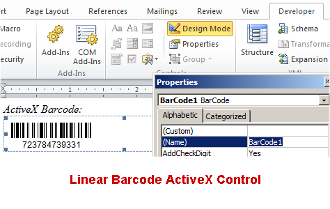 Linear Barcode ActiveX Control