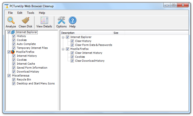 PCTuneUp Free Privacy Cleaner