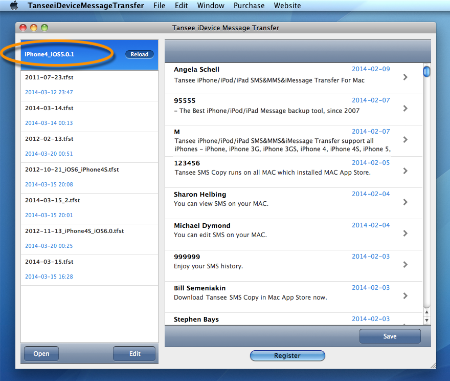 Tansee iPhone/iPod/iPad Messages Copy for MAC