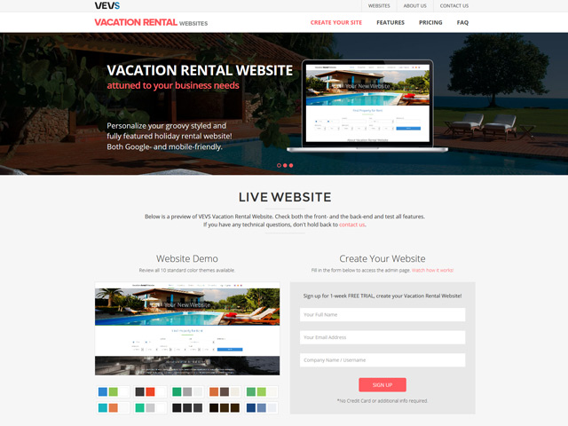 Vacation Rental Website - Vevs.com
