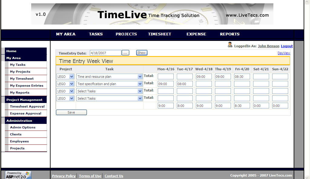 Web Based Time Tracking Tool