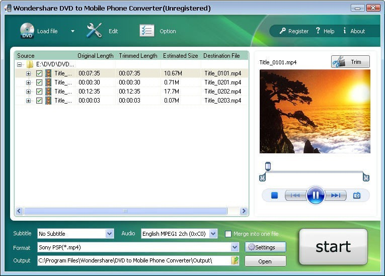 Wondershare DVD to Mobile Phone Converter