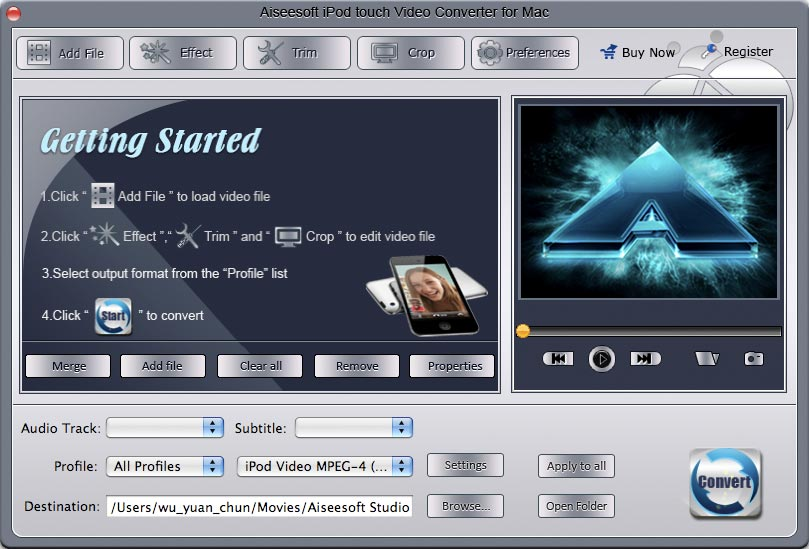 Aiseesoft Mac iPod touch Video Converter