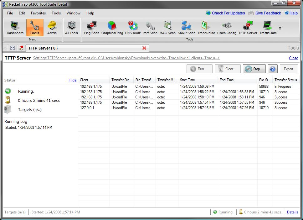 FREE PacketTrap TFTP Server