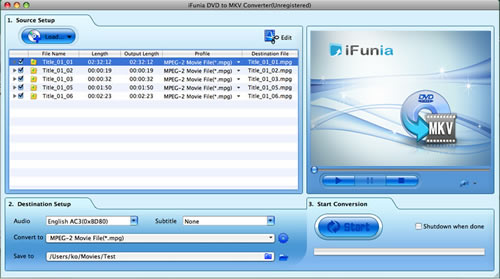 iFunia DVD to MKV Converter for Mac