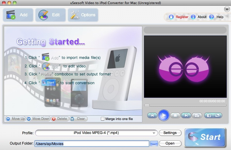 uSeesoft Video to iPod Converter for Mac