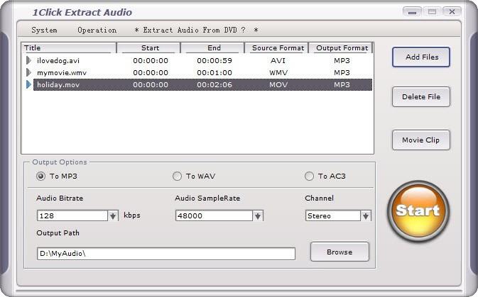 1Click Extract Audio
