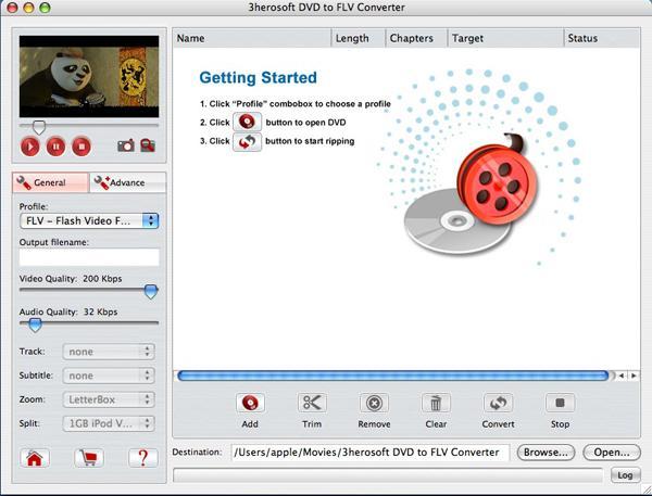 3herosoft DVD to FLV Converter for Mac