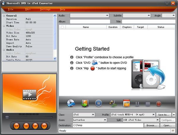 3herosoft DVD to iPod Converter