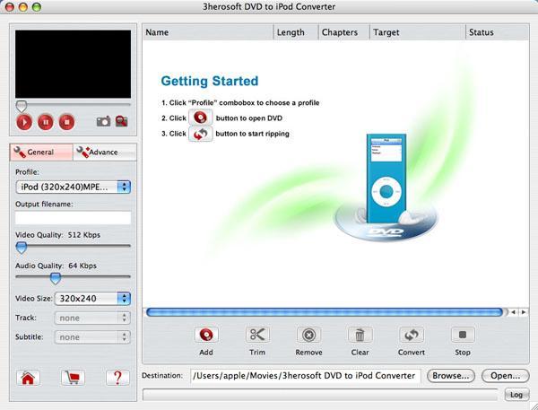 3herosoft DVD to iPod Converter for Mac