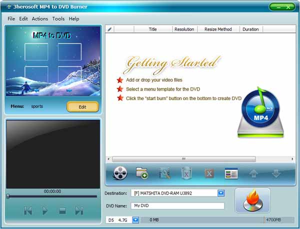 3herosoft MP4 to DVD Burner