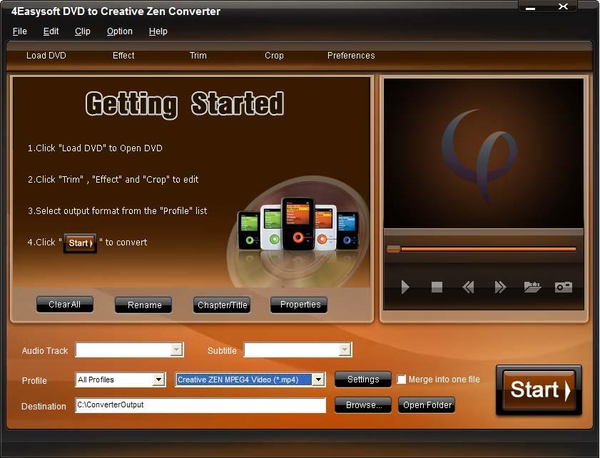 4Easysoft DVD to Creative Zen Converter