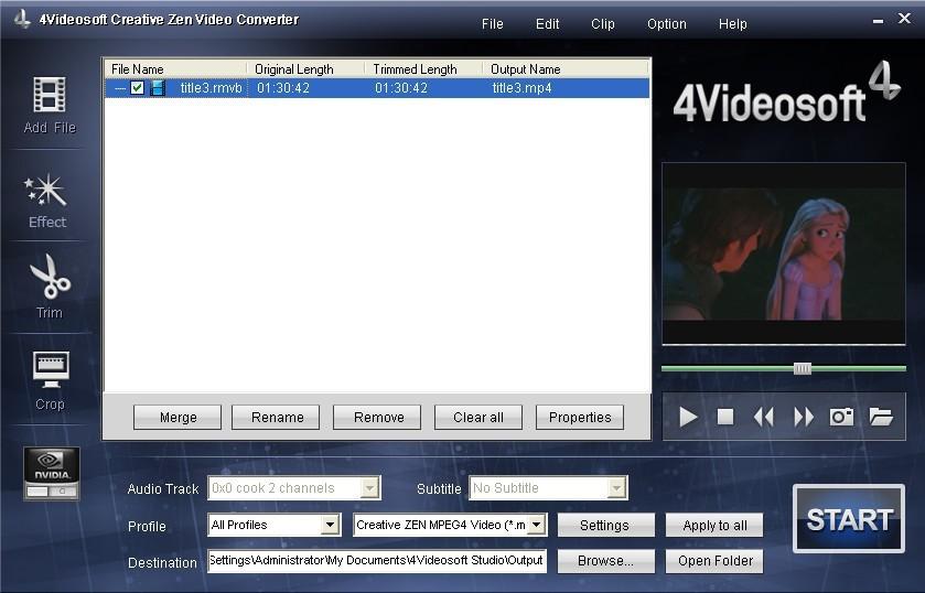 4Videosoft Creative Zen Video Converter