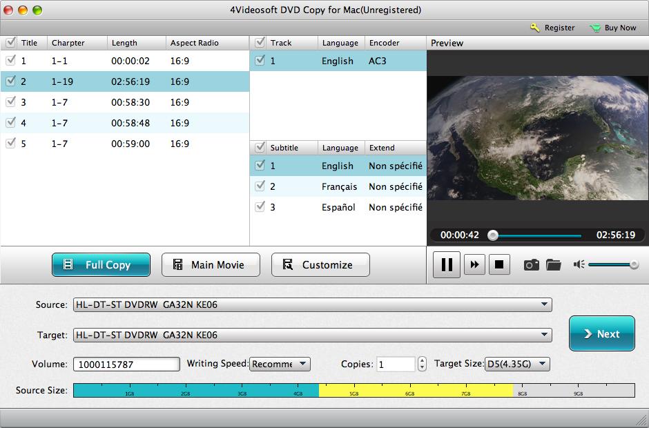 4Videosoft DVD Copy for Mac