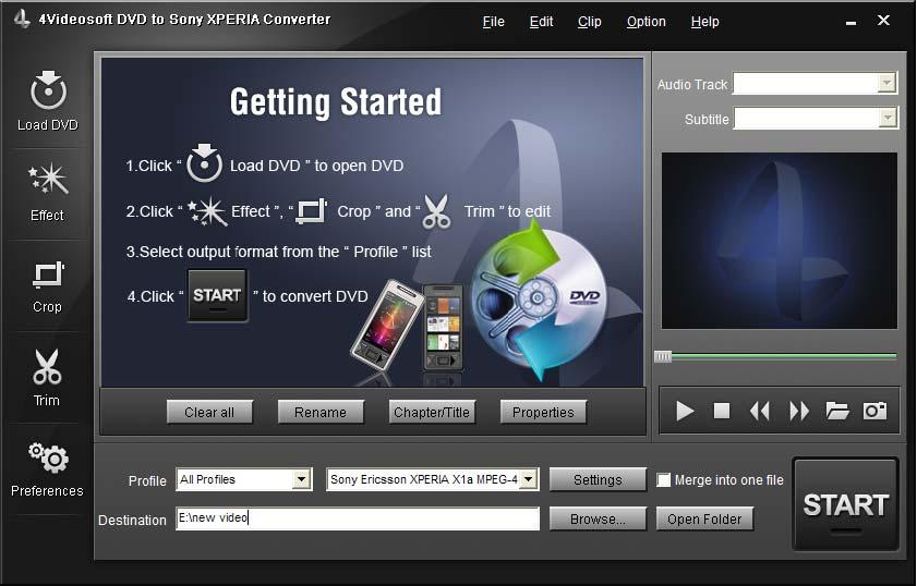 4Videosoft DVD to Sony XPERIA Converter